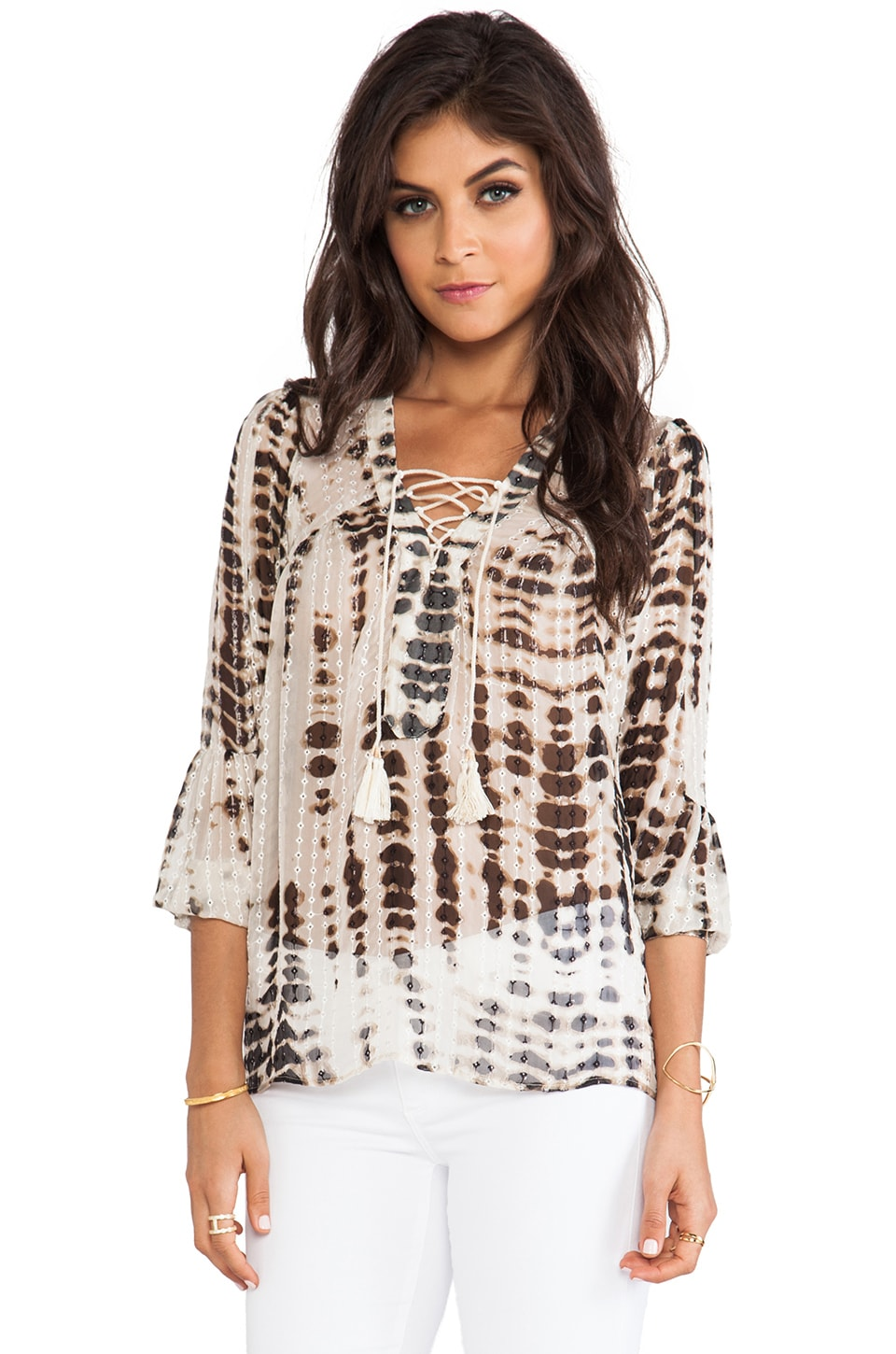 Twelfth Street By Cynthia Vincent Lace Up Blouse in Taupe