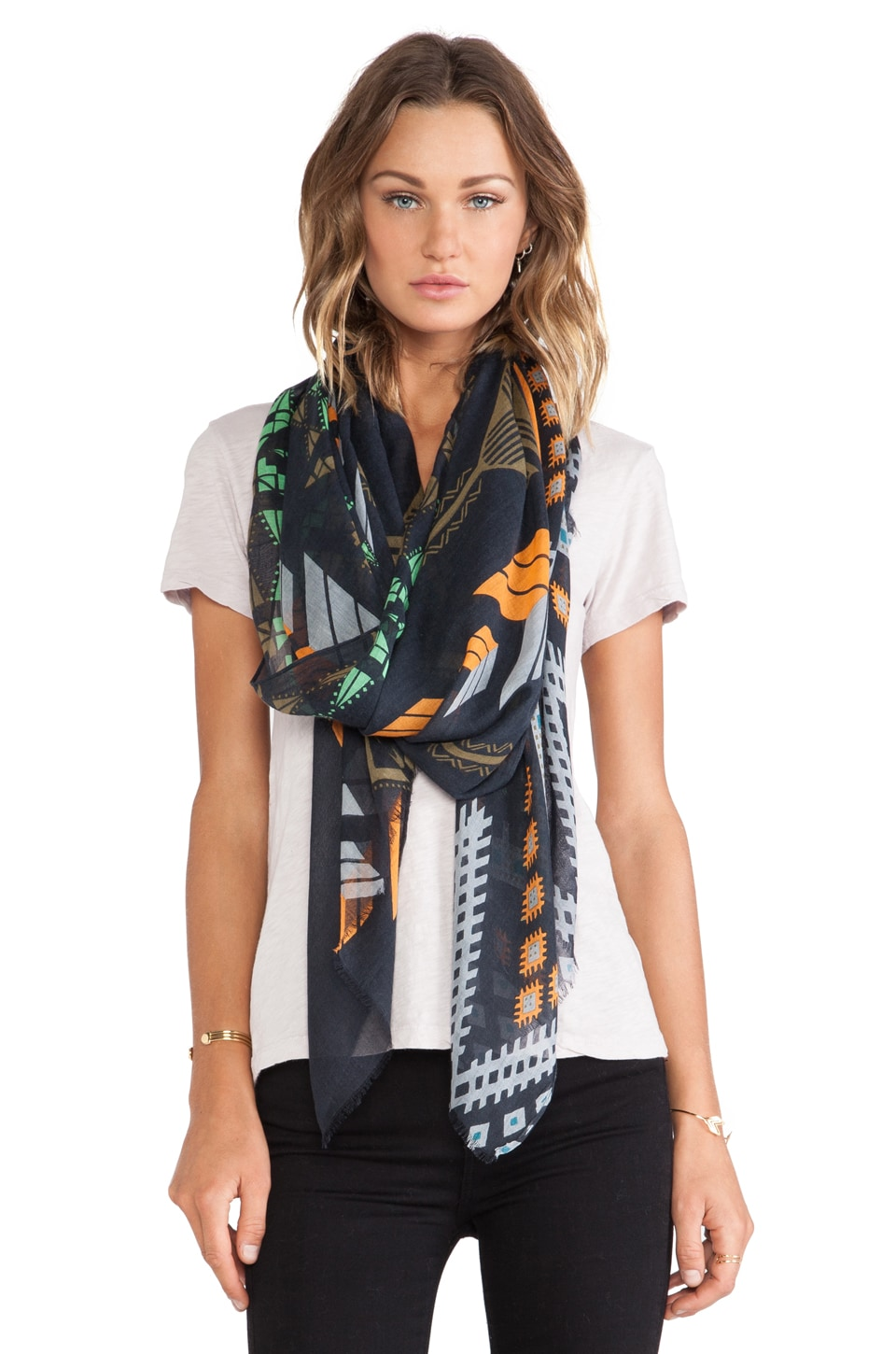 Twelfth Street By Cynthia Vincent Tribal Ikat Scarf in Navy