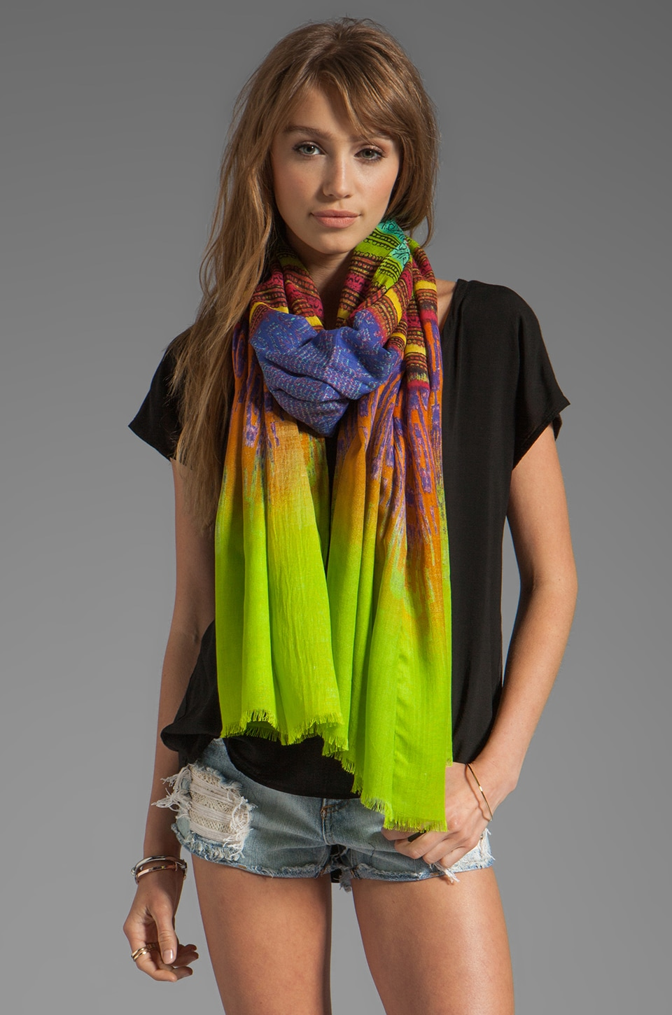 Twelfth Street By Cynthia Vincent Ismall Printed Scarf in Timor Shoulder Scarf