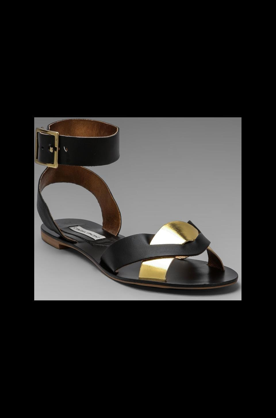Twelfth Street By Cynthia Vincent Flora Sandal in Black/Gold