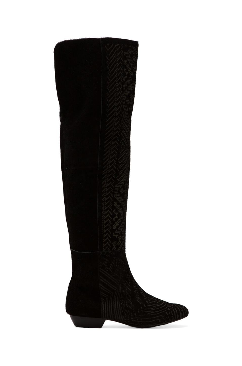 Twelfth Street By Cynthia Vincent Daire Over-The-Knee Etched Suede Boot in Black