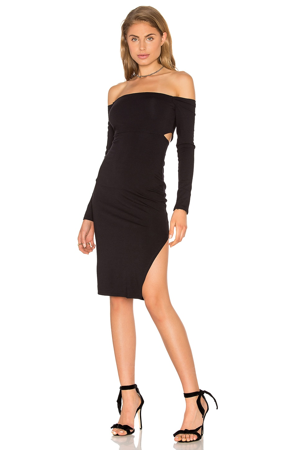 twenty Off Shoulder Bodycon Dress in Black