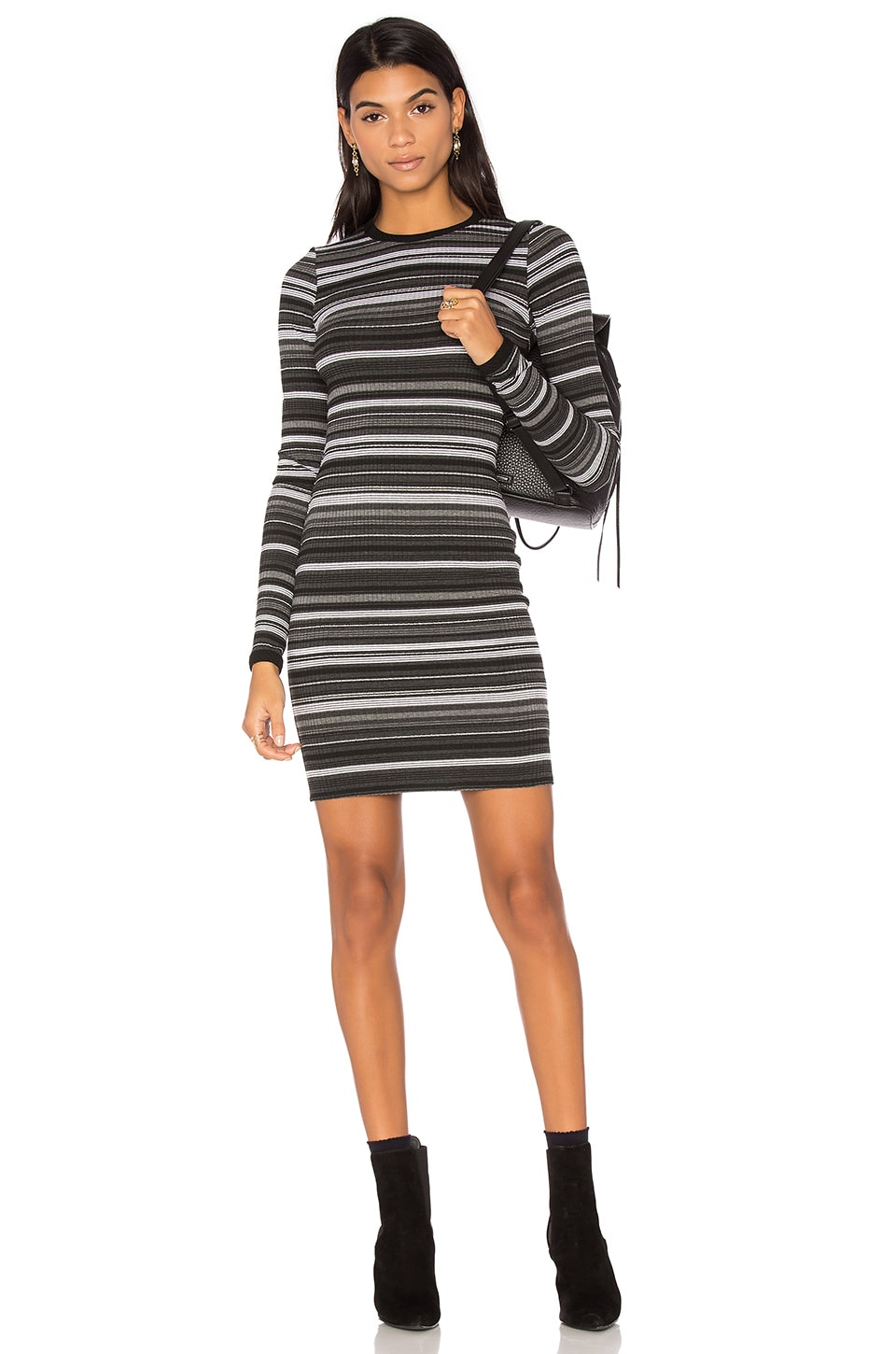 twenty Cascade Stripe Bodycon Dress in Grey