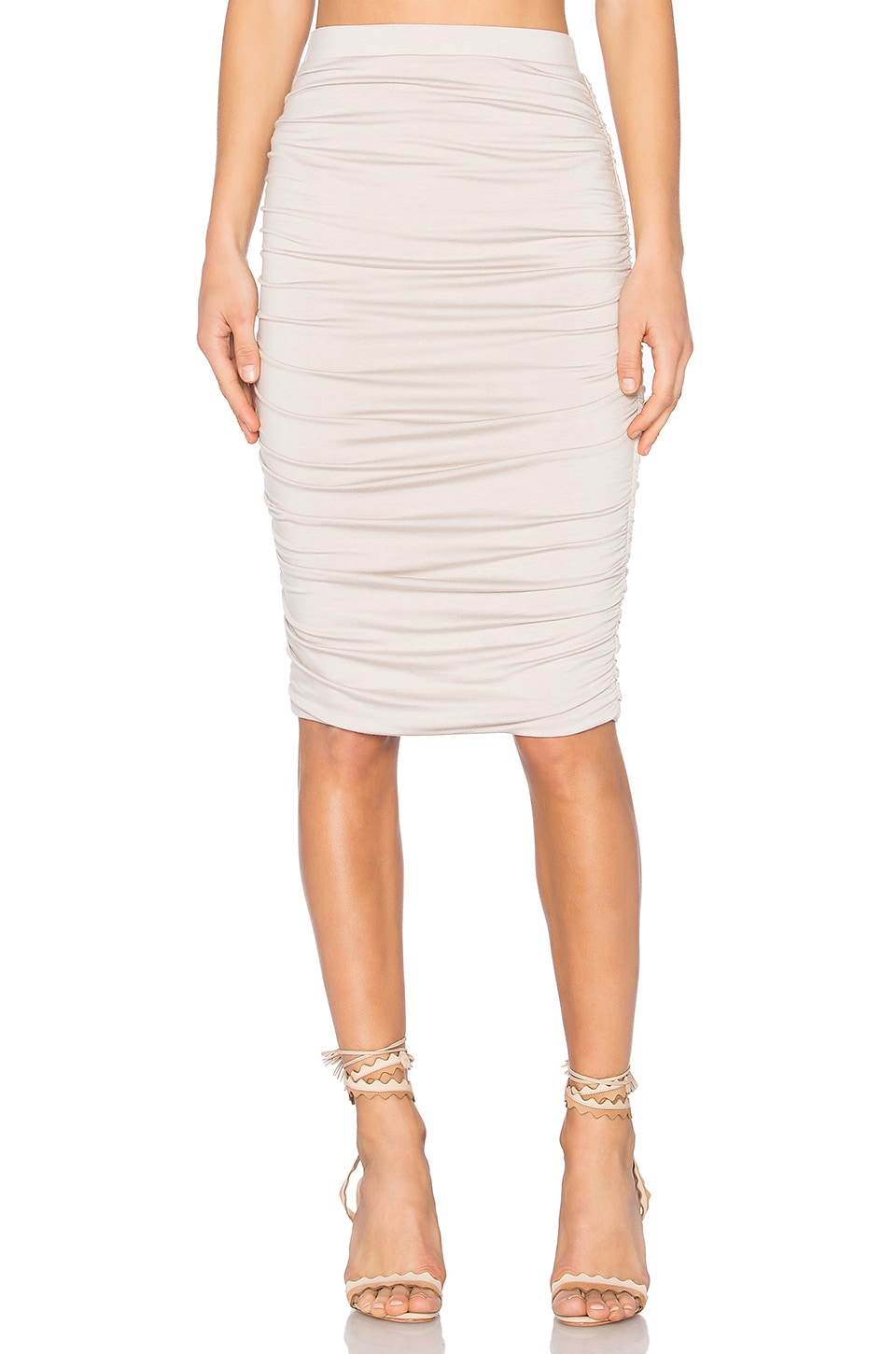 twenty Superior Midi Skirt in Taupe