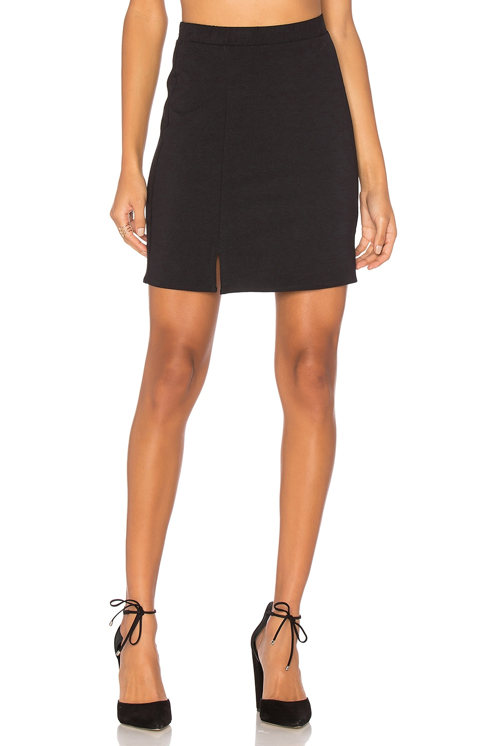 twenty Double Slit Mini Skirt in Black