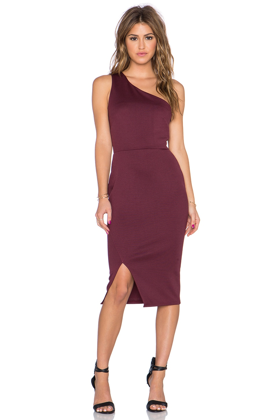 Twin Sister One Shoulder Bodycon Dress in Mauve