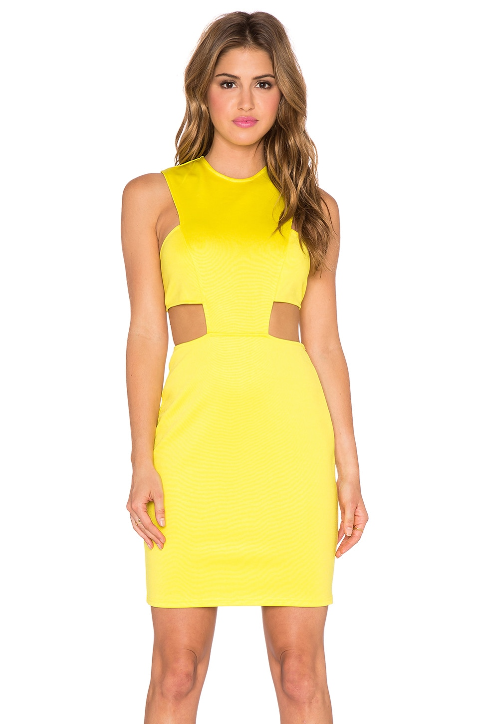 Twin Sister Cut Out Waist Bodycon Dress in Yellow