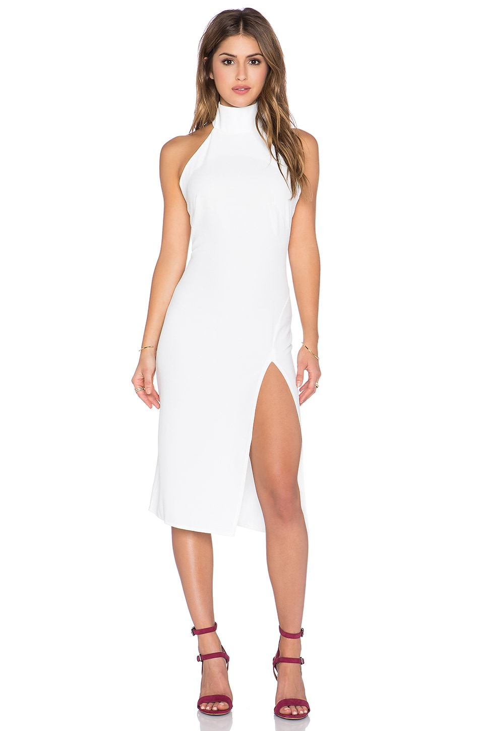 Twin Sister Racer Bodycon Dress with Split in White