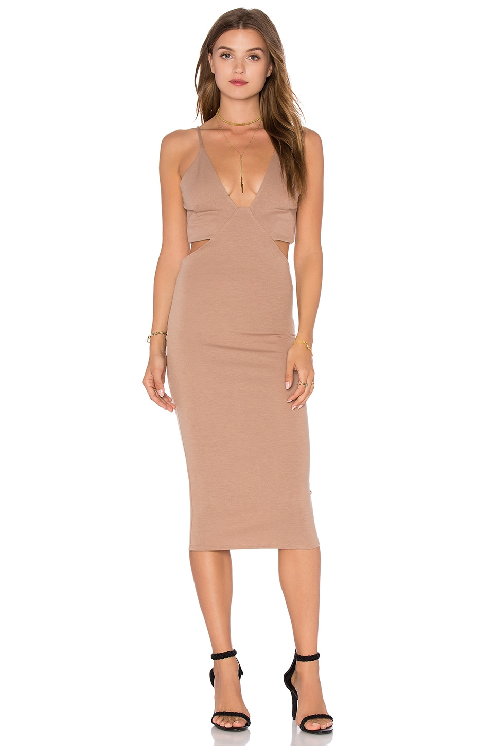 Twin Sister V Neck Back Cut Out Dress in Nude