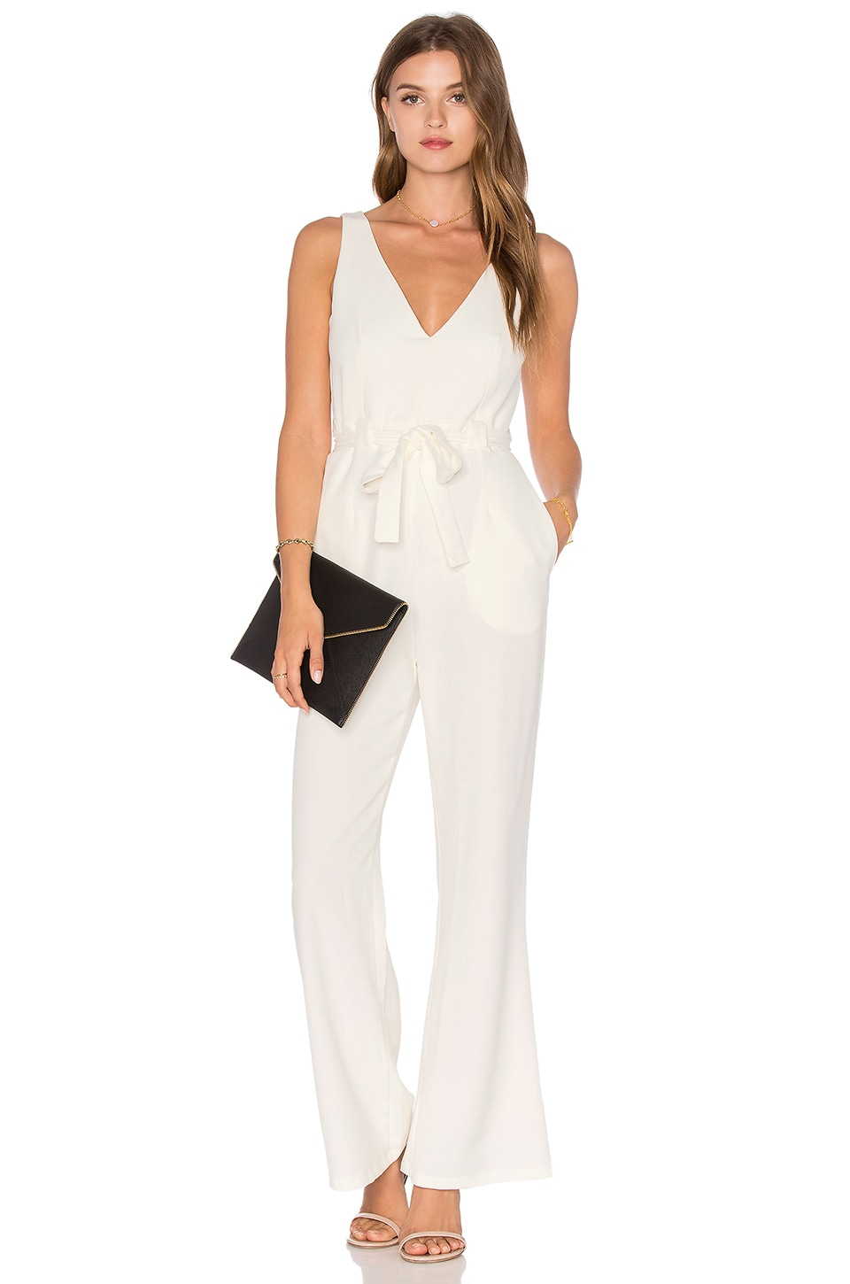 Twin Sister Tie Wrap Jumpsuit in White