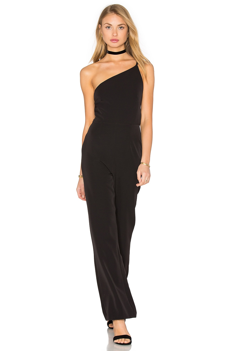 Twin Sister One Shoulder Jumpsuit in Black