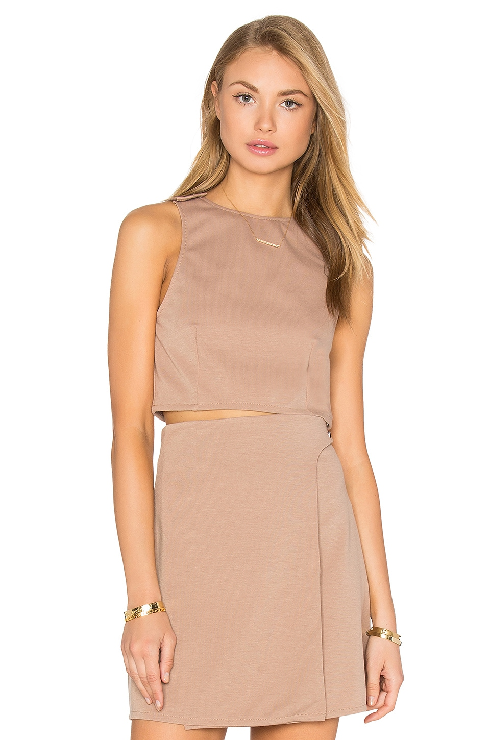 Twin Sister Button Strap Crop Top in Nude