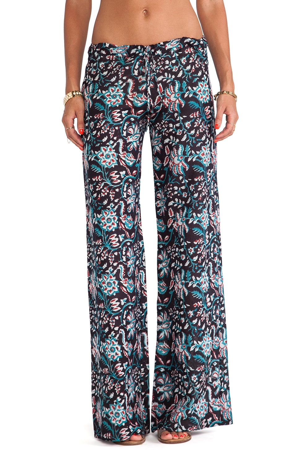 Tysa Drawstring Pants in Black Floral