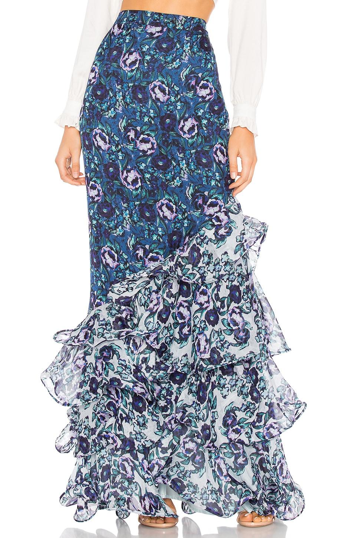 AMUR Ira Floral Print Silk Skirt in Blue