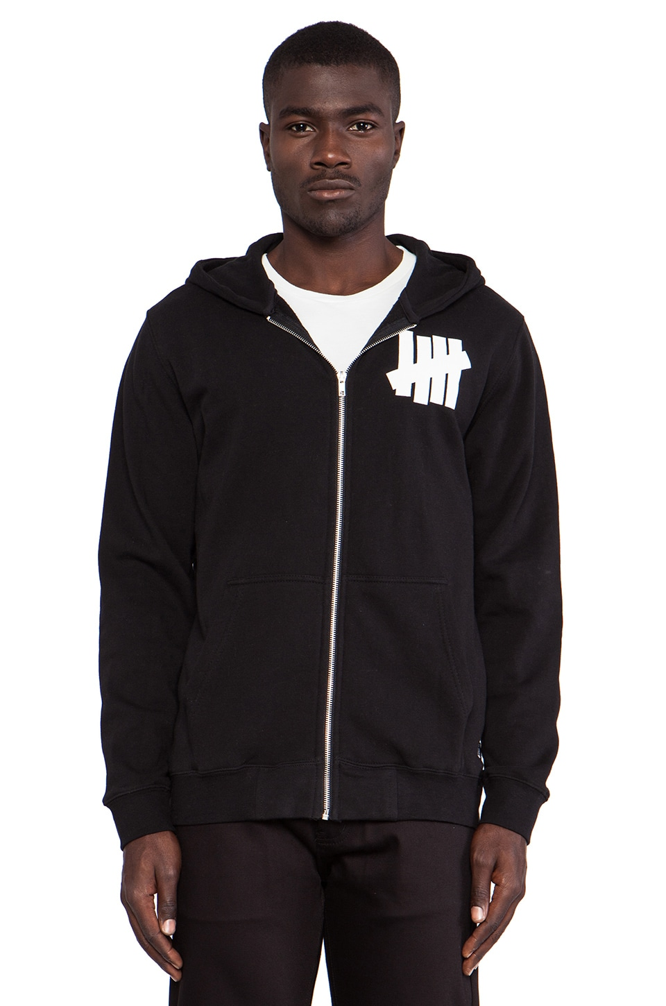 Undefeated 5 Strike Zip Up Hoody in Black