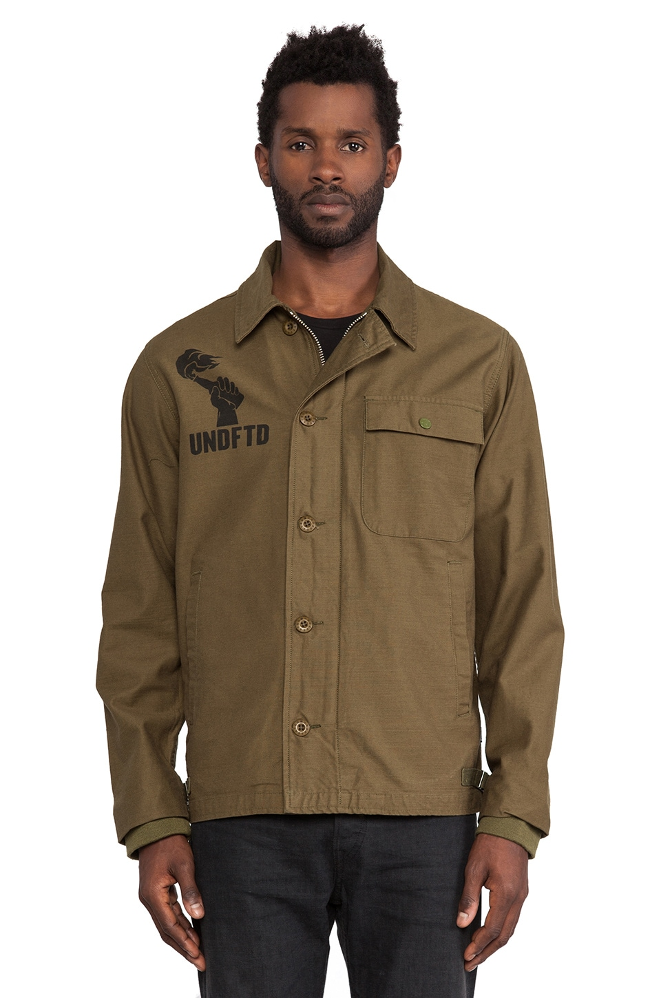 Undefeated Respect Deck Jacket in Olive