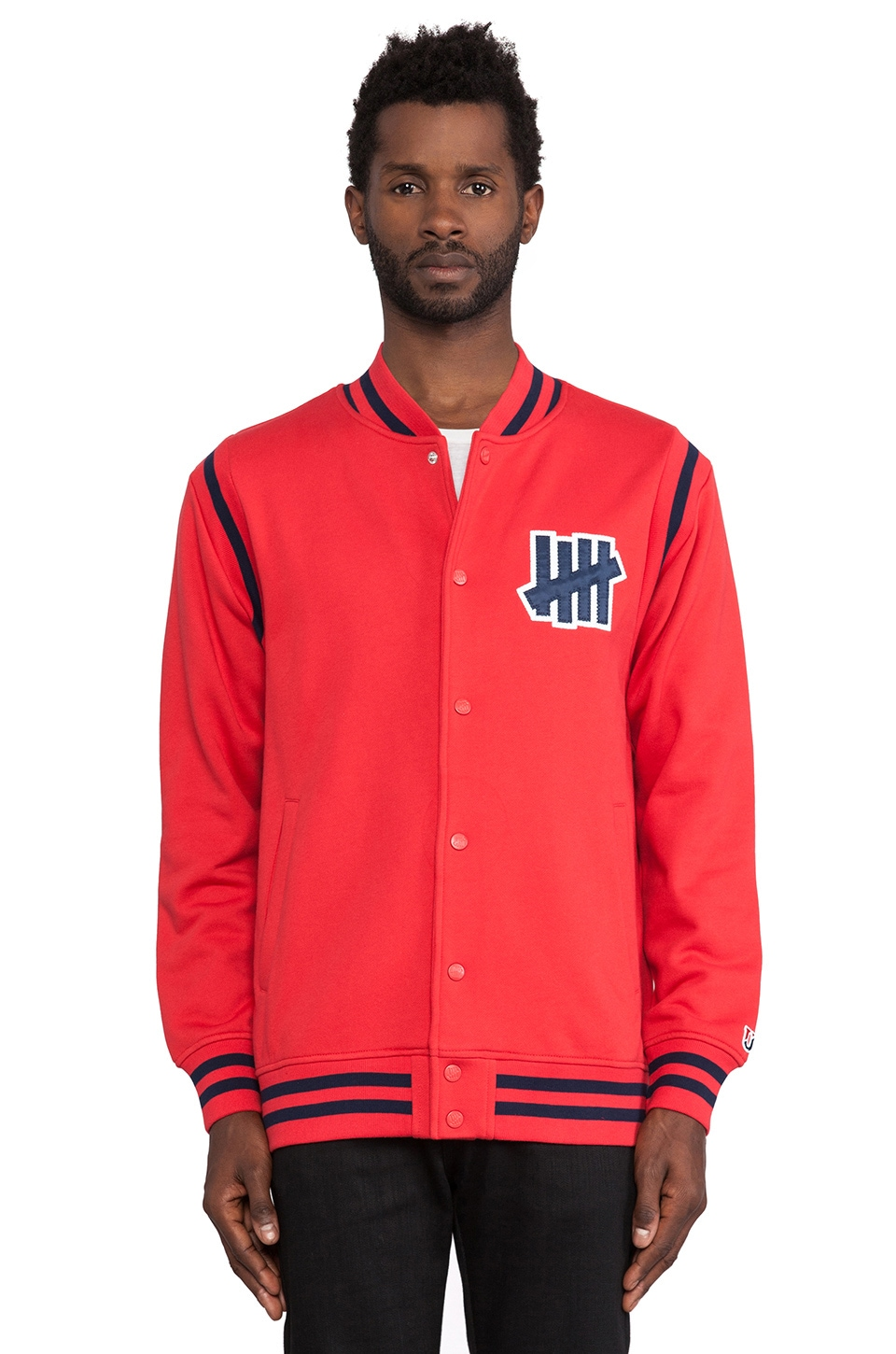 Undefeated Strike Varsity Jacket in Red