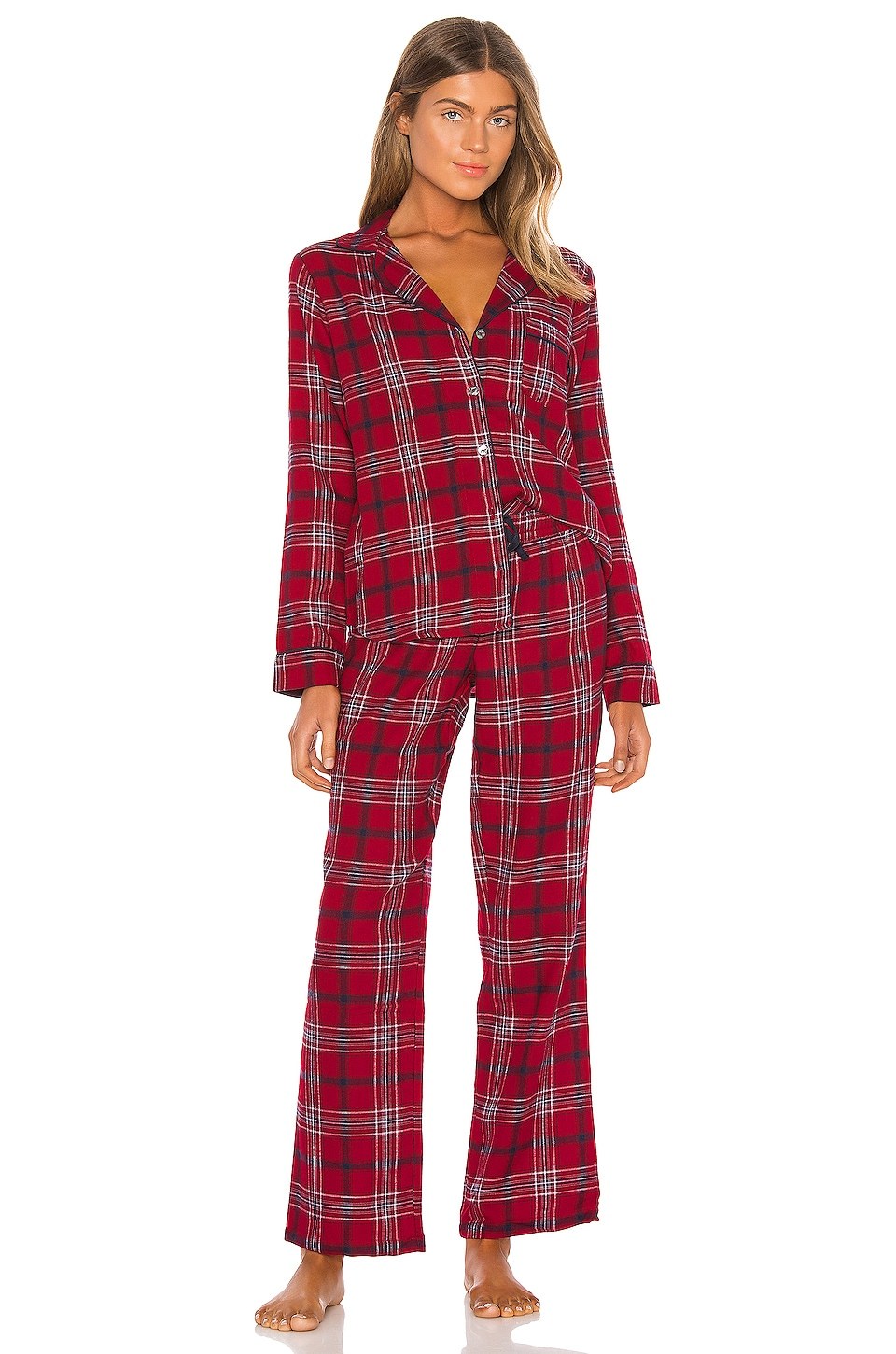 UGG Raven Set Flannel Pajamas in Chili Pepper Plaid