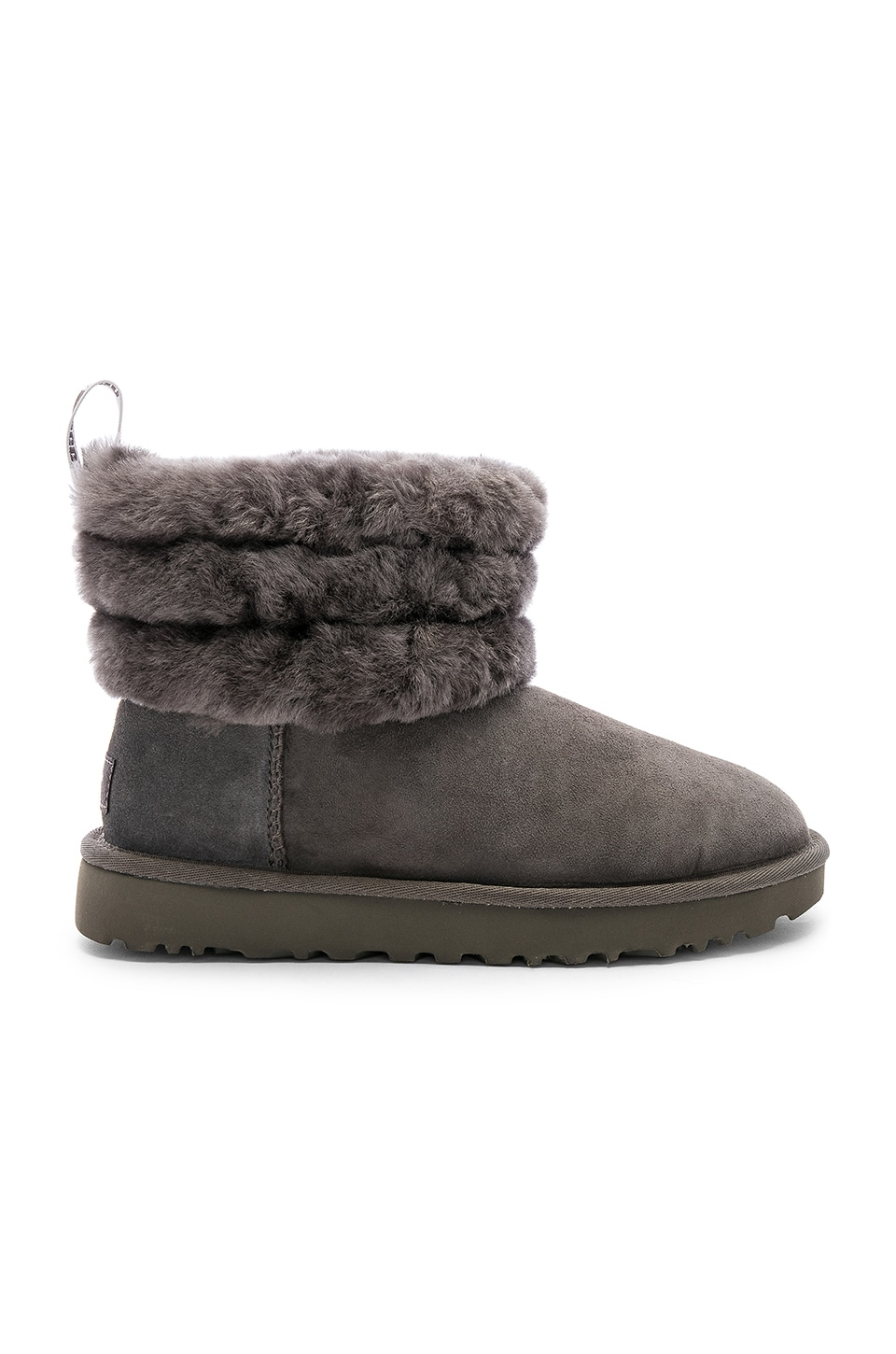 UGG Fluff Mini Quilted Bootie in Charcoal