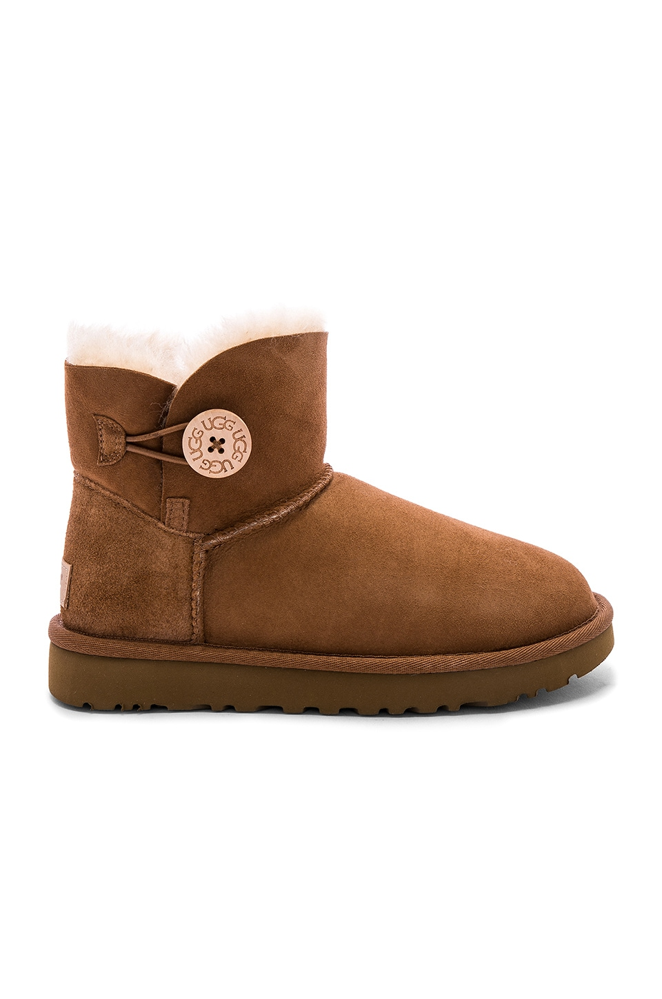 UGG Mini Bailey Button II Bootie in Chestnut