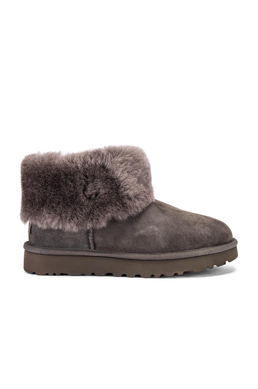 UGG Classic Mini Fluff Boot in Charcoal