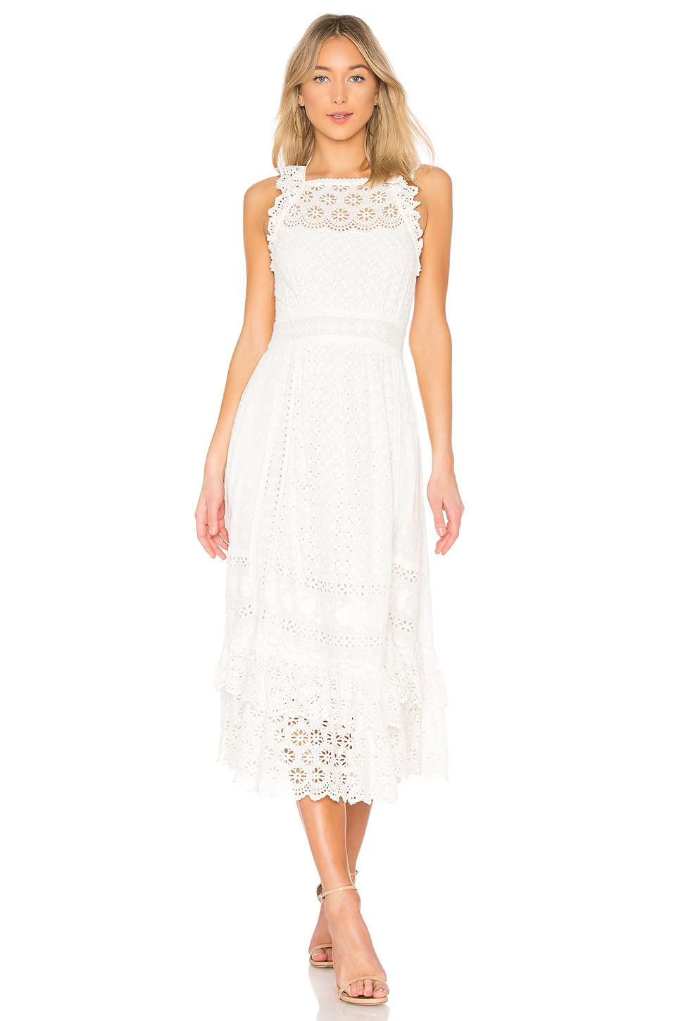 Willow Ruffled Broderie Anglaise Cotton Midi Dress - White Ulla Johnson HdxOYuL