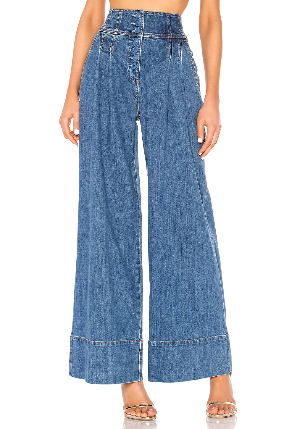 Ulla Johnson Billie Trouser in Mid Wash