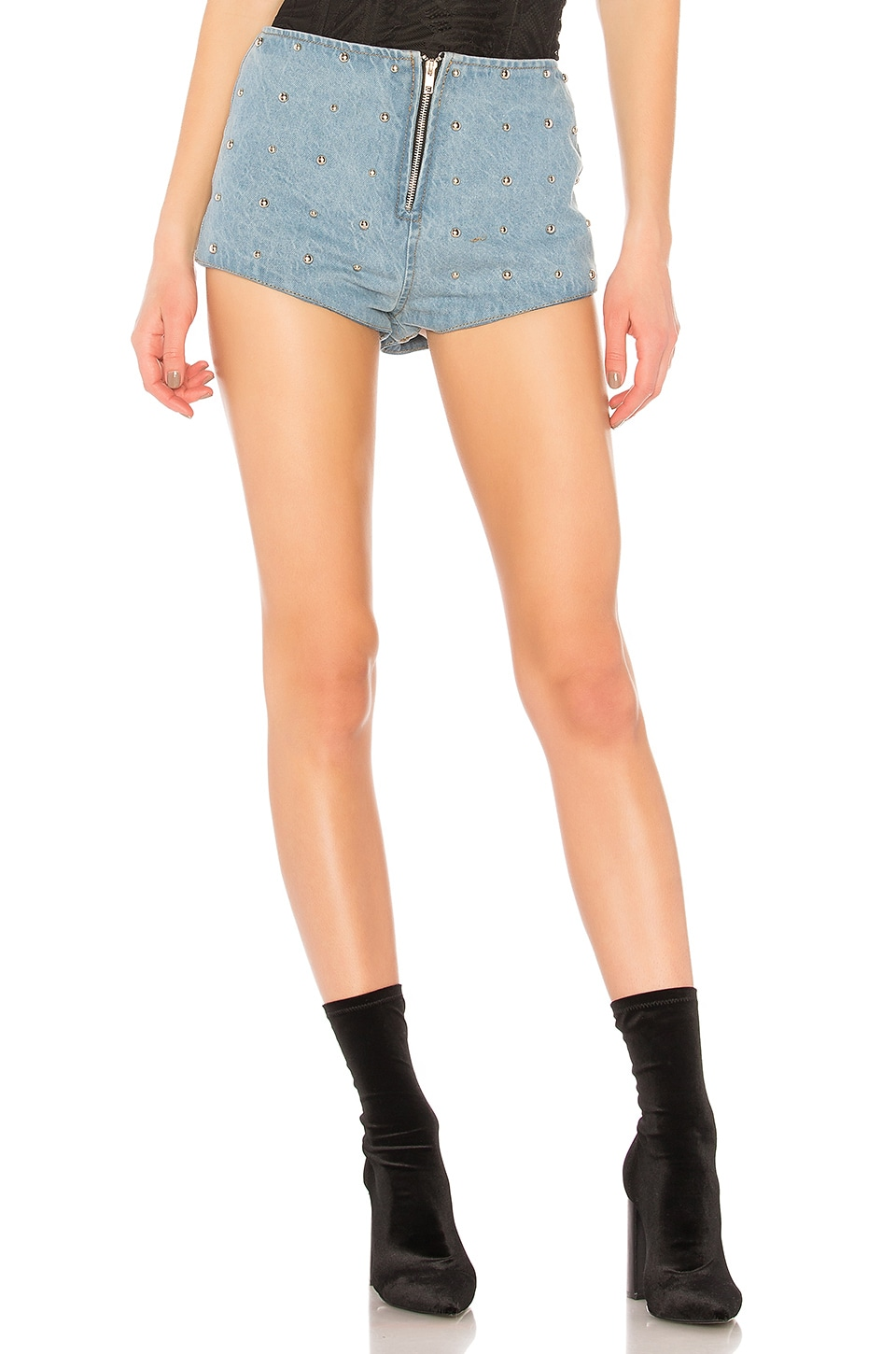 Studded Denim High Waist Short