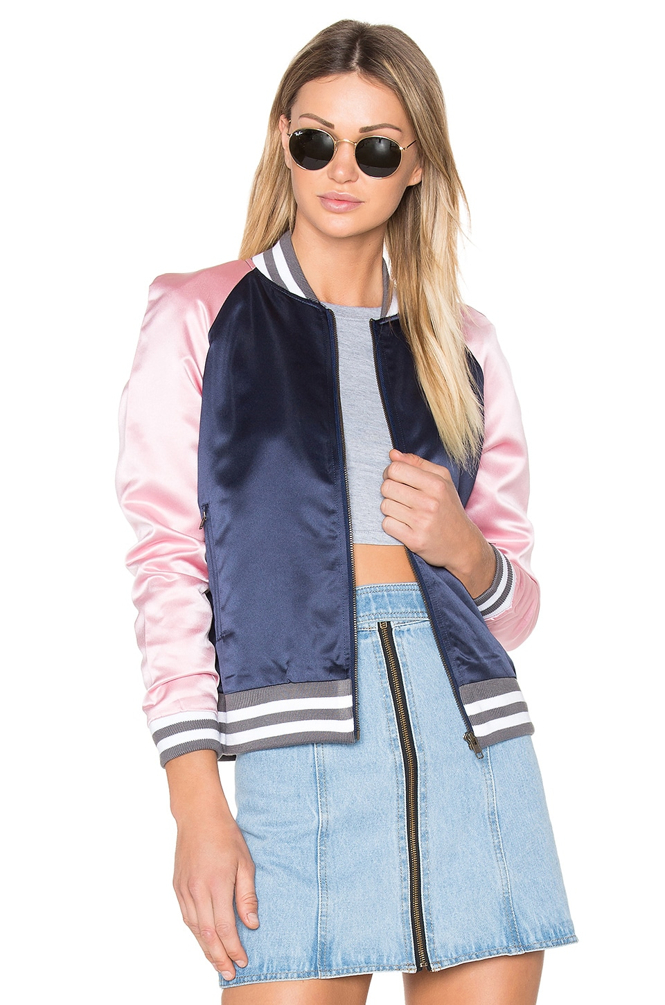 Understated Leather Ain't Nothing Like the Real Thing Jacket in Pink & Navy