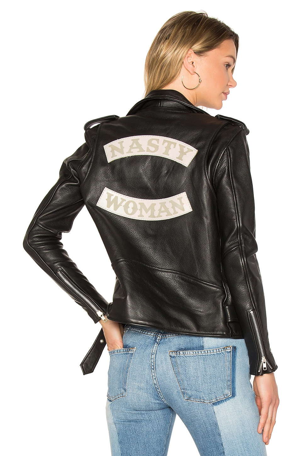 Understated Leather x REVOLVE Nasty Woman MC Club Jacket in Black