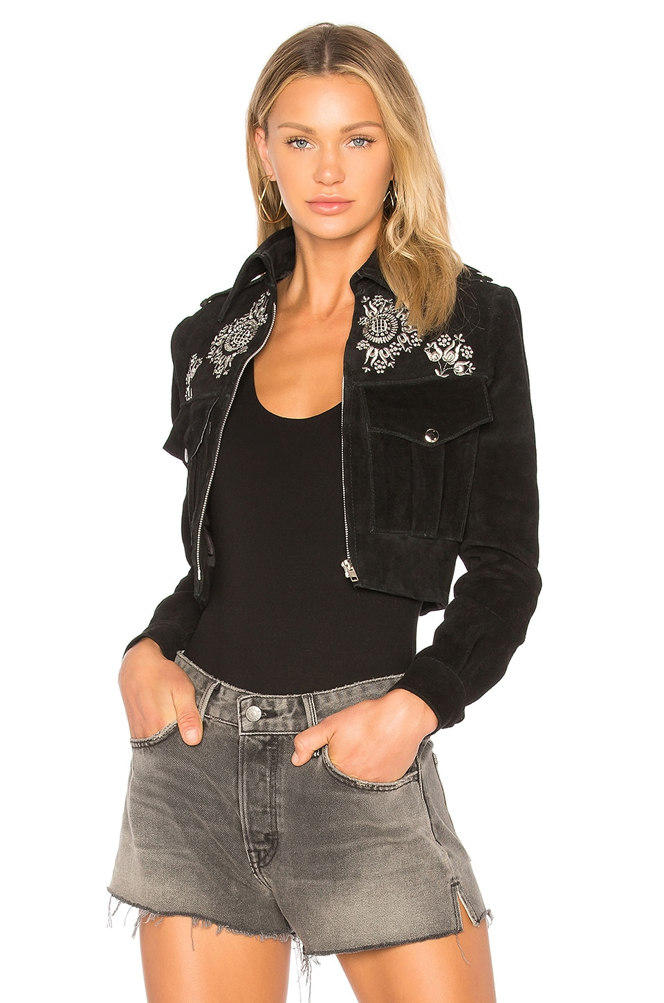 Embroidered Suede Jacket by Understated Leather
