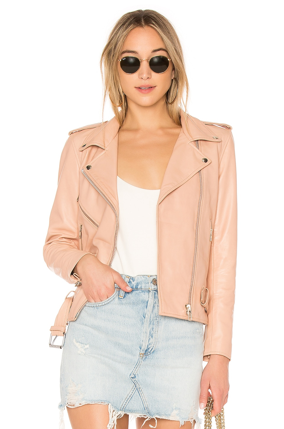 UNDERSTATED LEATHER X Revolve Lightweight Easy Rider Jacket in Blush