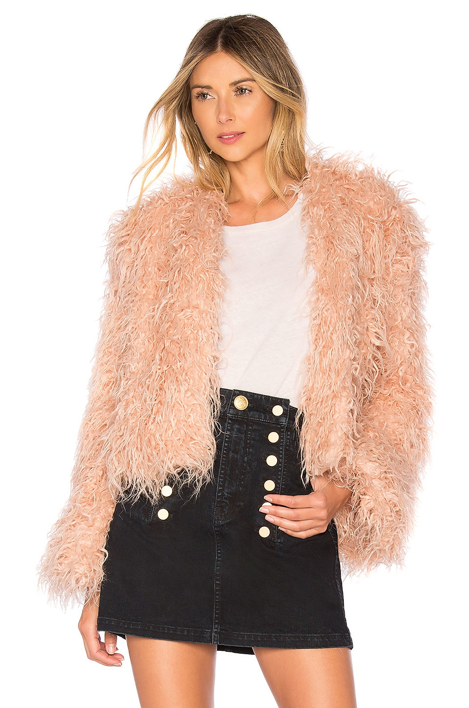 UNDERSTATED LEATHER Faux Shearling Jacket in Pink