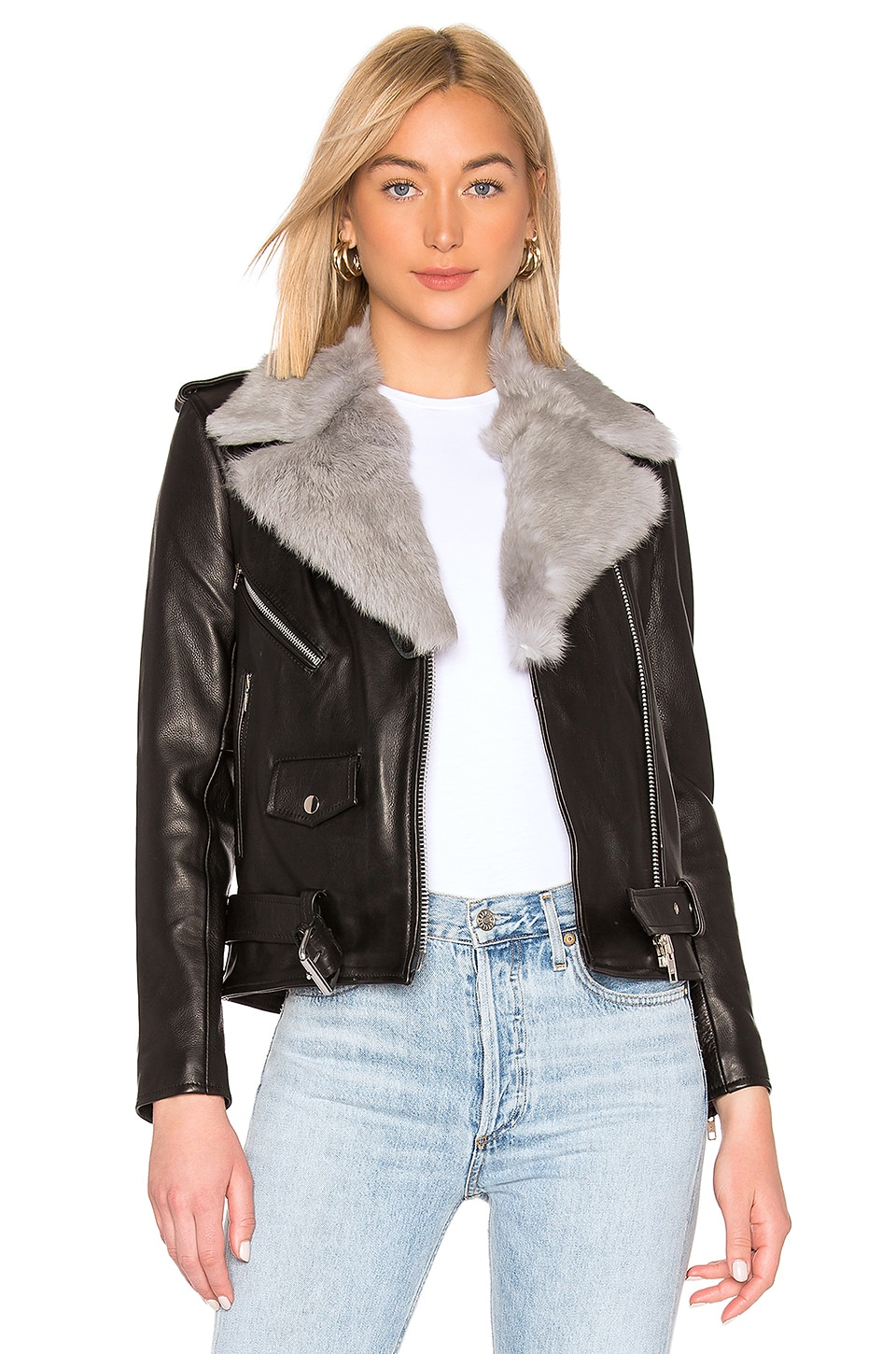 UNDERSTATED LEATHER Easy Rider With Removable Fur Collar in Black