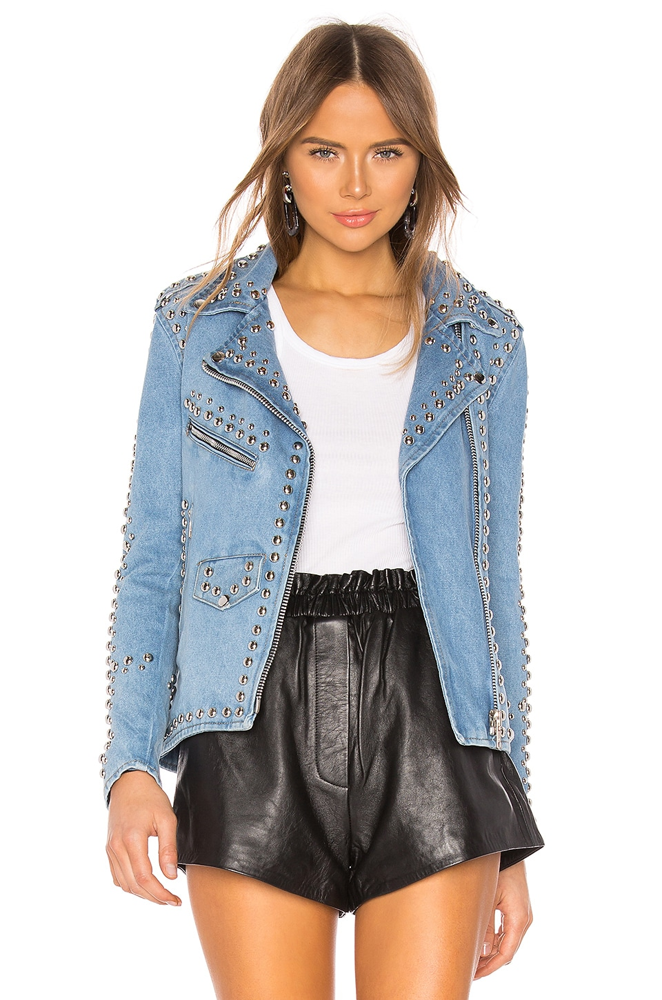 Understated Leather Studded Western Moto Jacket in Light