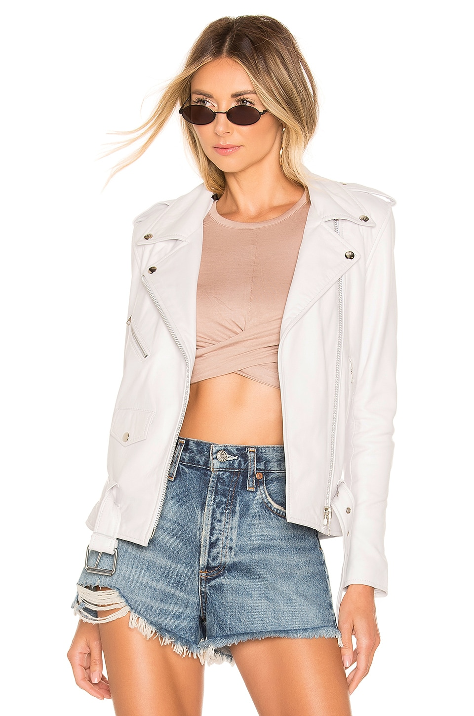 Understated Leather Lightweight Easy Rider Jacket in White