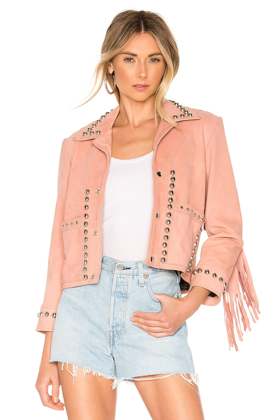 Understated Leather X REVOLVE Lil Darlin Jacket in Dusty Rose