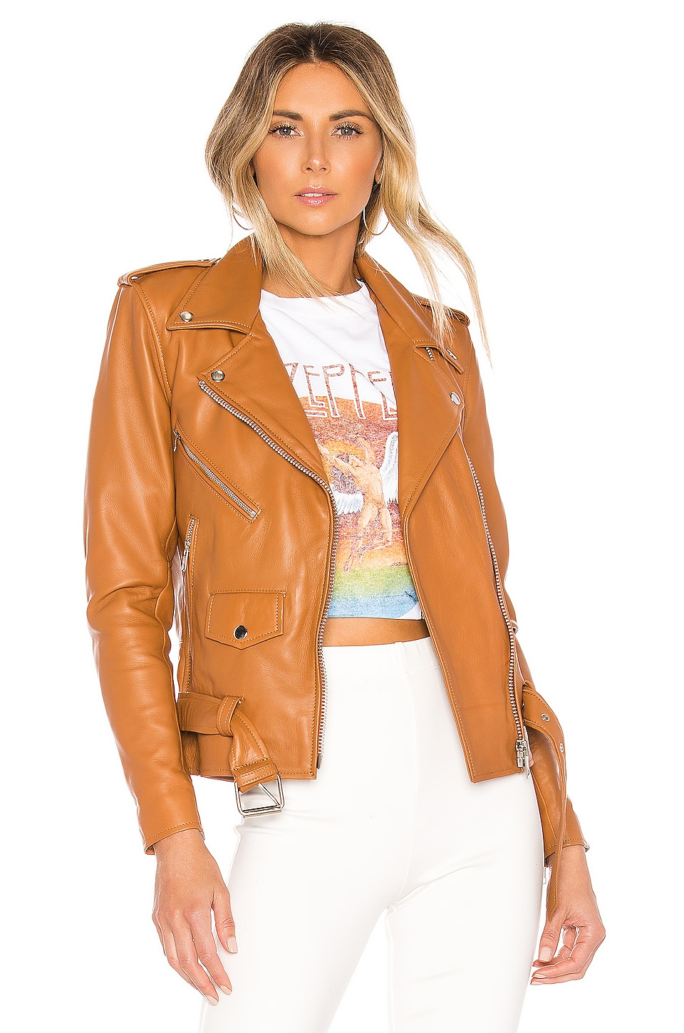 Understated Leather X REVOLVE Lightweight Easy Rider Jacket in Tan