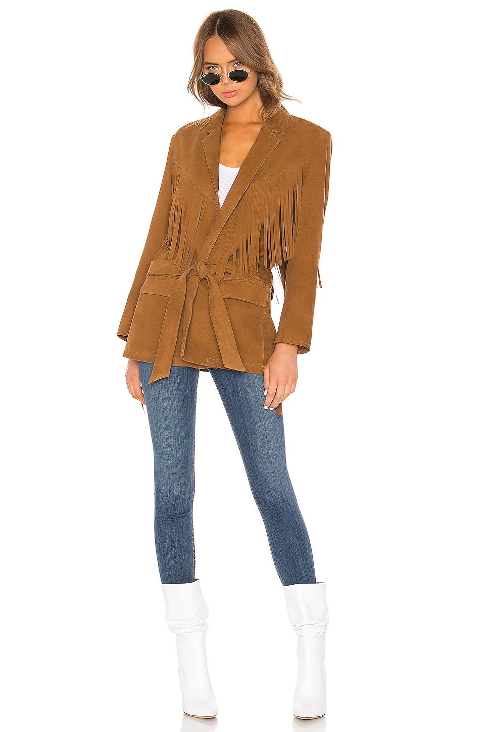 Understated Leather Jackson Coat in Brown