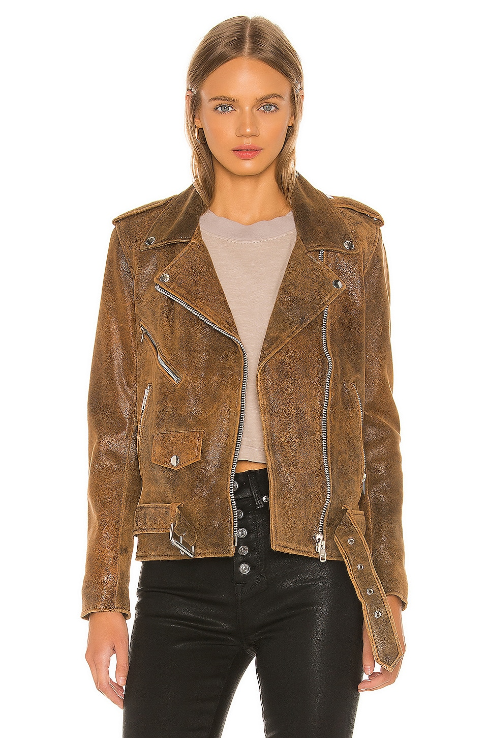 Understated Leather Lightweight Easy Rider Jacket in Distressed Brown