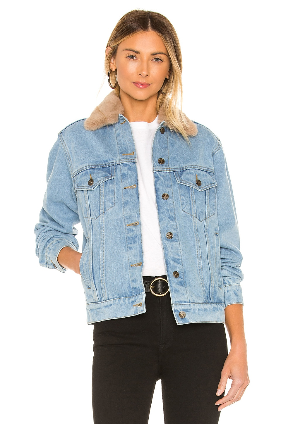 Understated Leather Lonewolf Jacket With Faux Fur Collar in Stone Wash