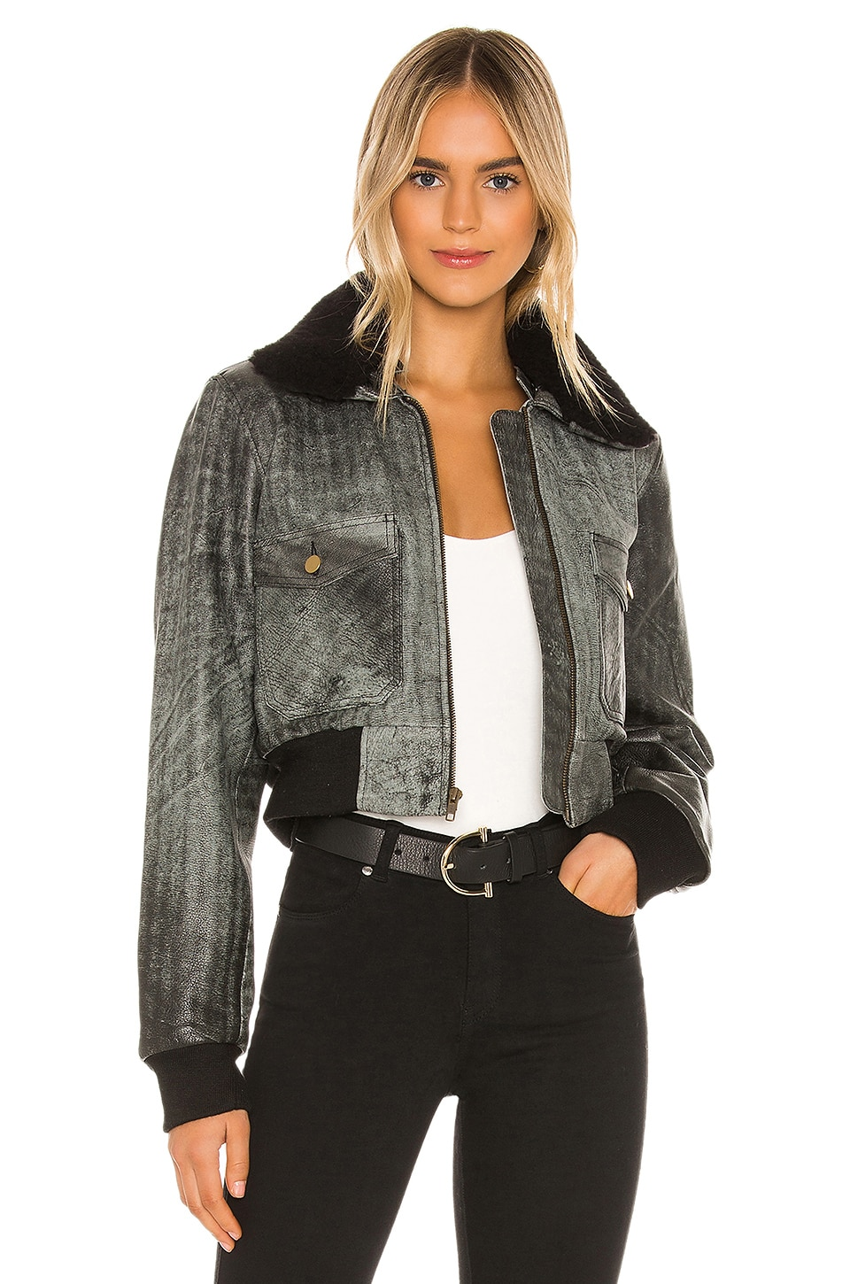 Understated Leather Spirit Bomber Jacket With Shearling Collar in Distressed Black