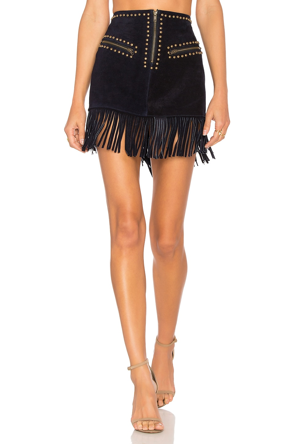 Understated Leather Hold Your Horses Skirt in Ink
