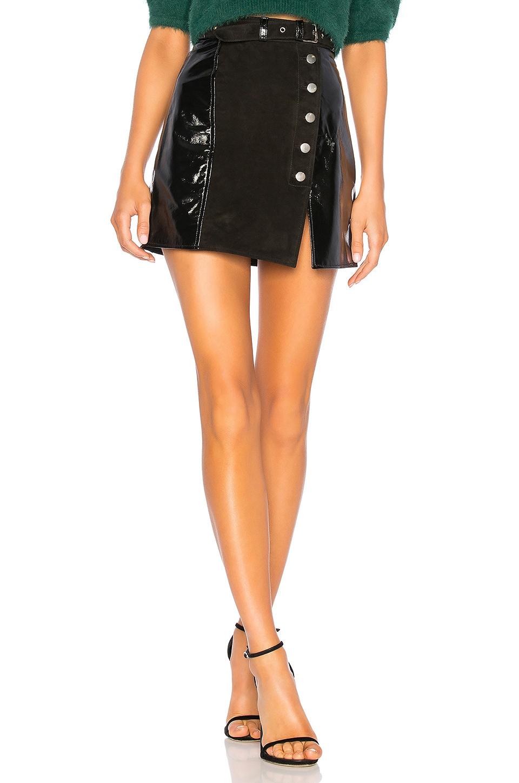 Understated Leather Belted Mini Split Skirt in Black