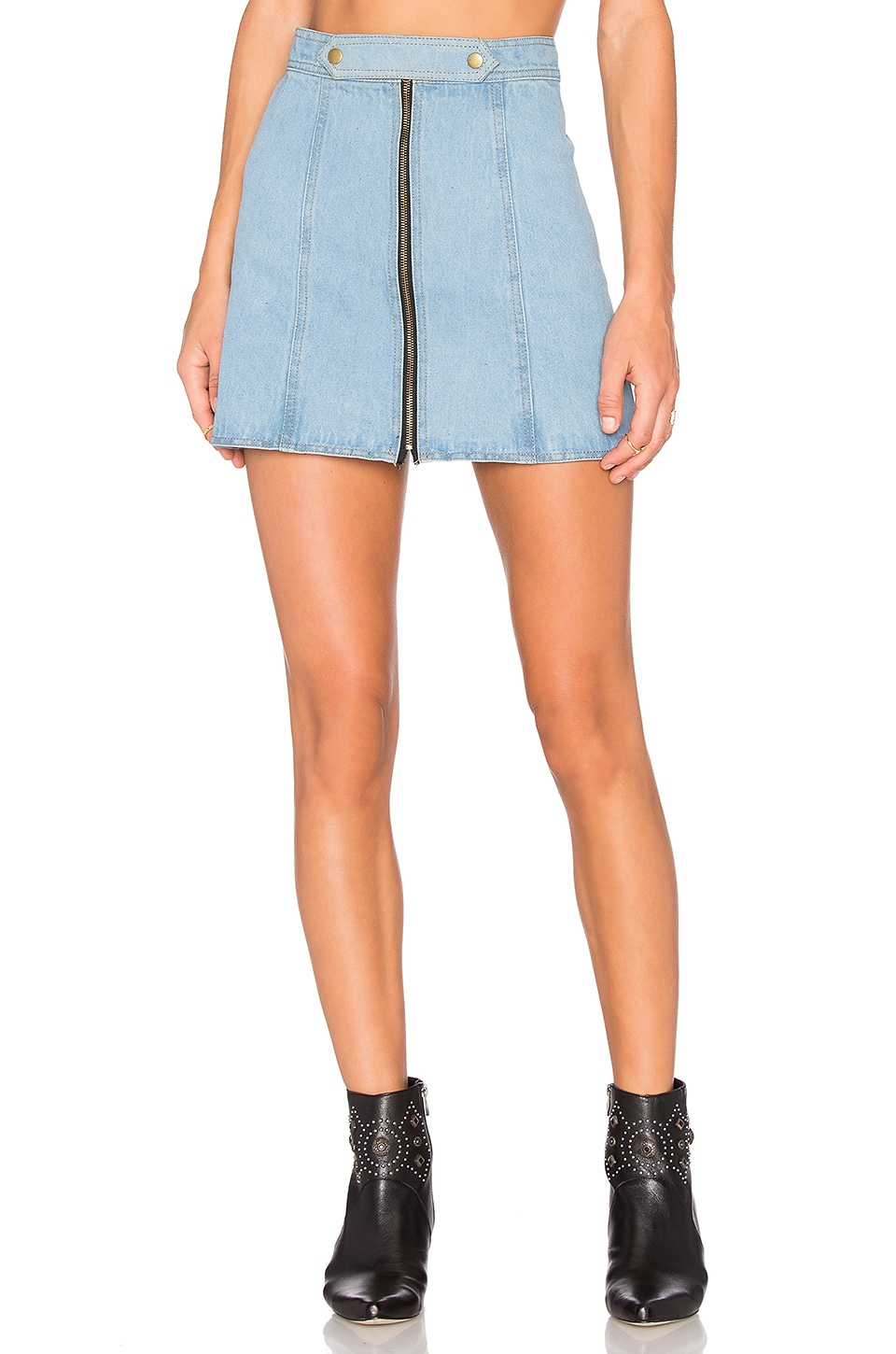 Understated Leather x REVOLVE High Waist Zip Skirt in Sky Blue & Acid Wash