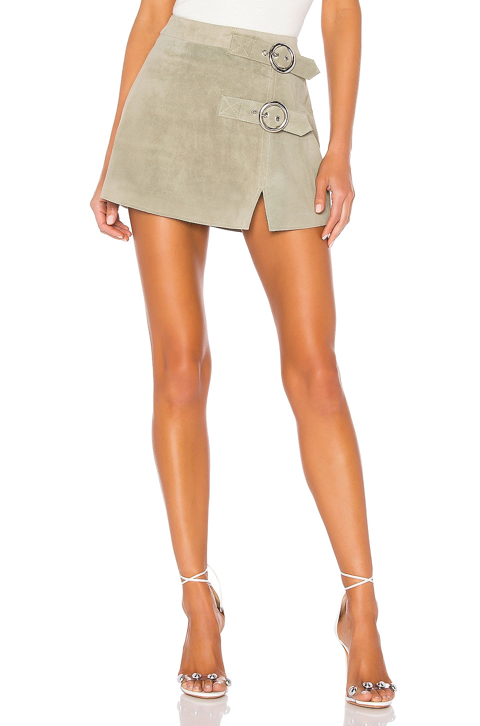Understated Leather Mid Rise Double Buckle Skirt in Moss