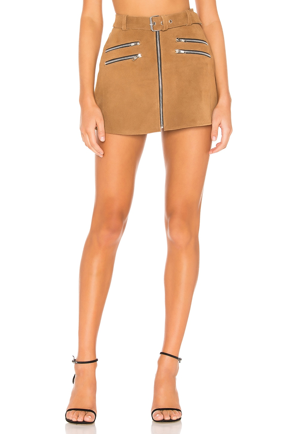 Understated Leather x REVOLVE Mini Zip Skirt in Cognac