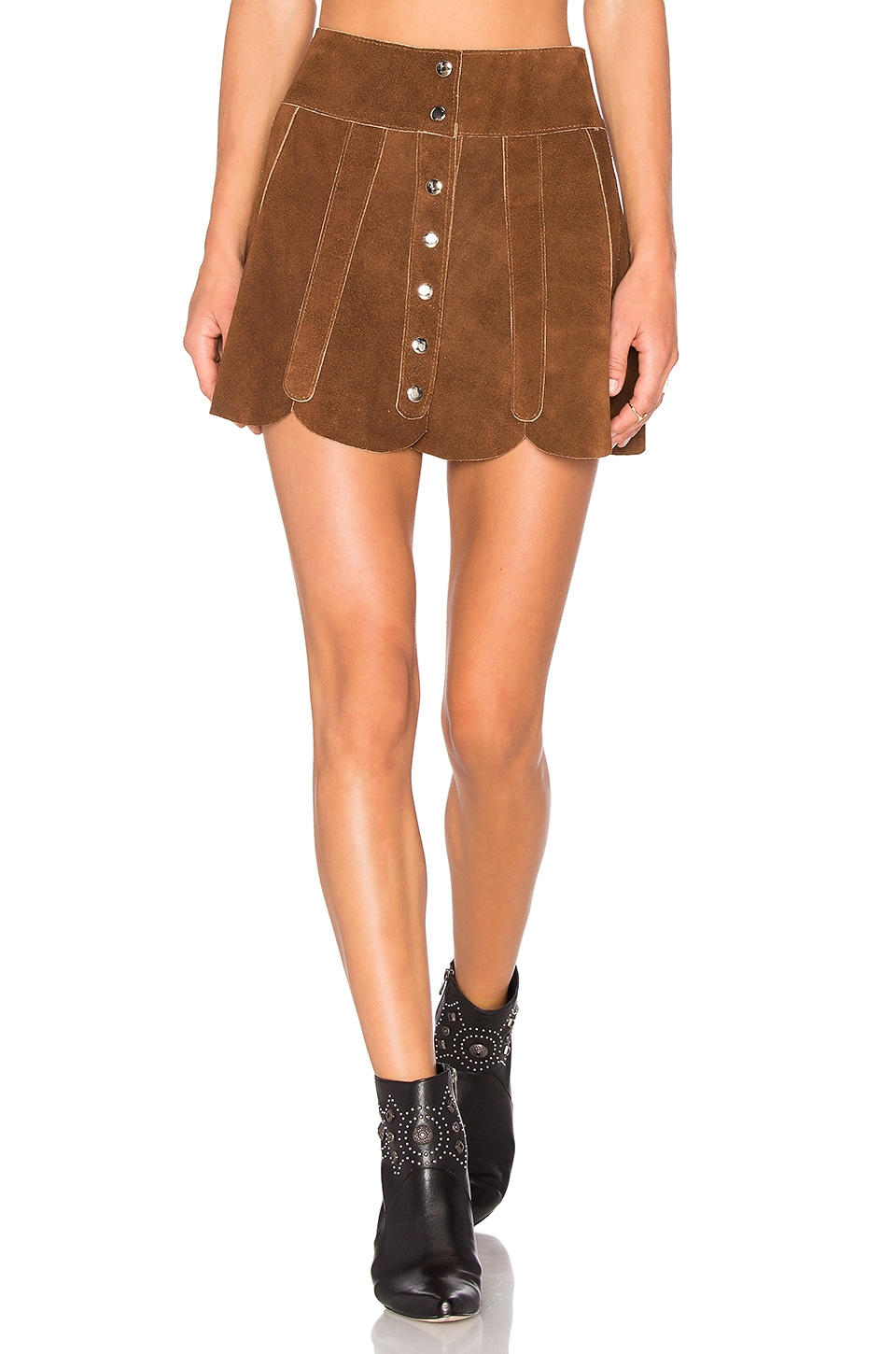 Understated Leather x REVOLVE Scalloped Snap Skirt in Tan