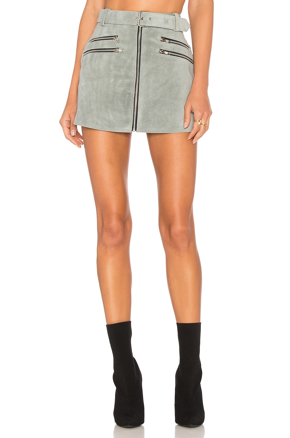 Understated Leather City Slicker Skirt in Smoke