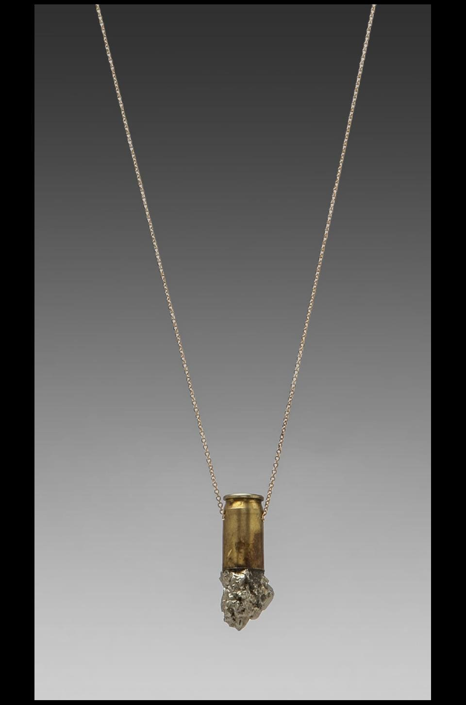 Unearthen Medium Pyrite Crystal Pendant on 14k Gold Chain